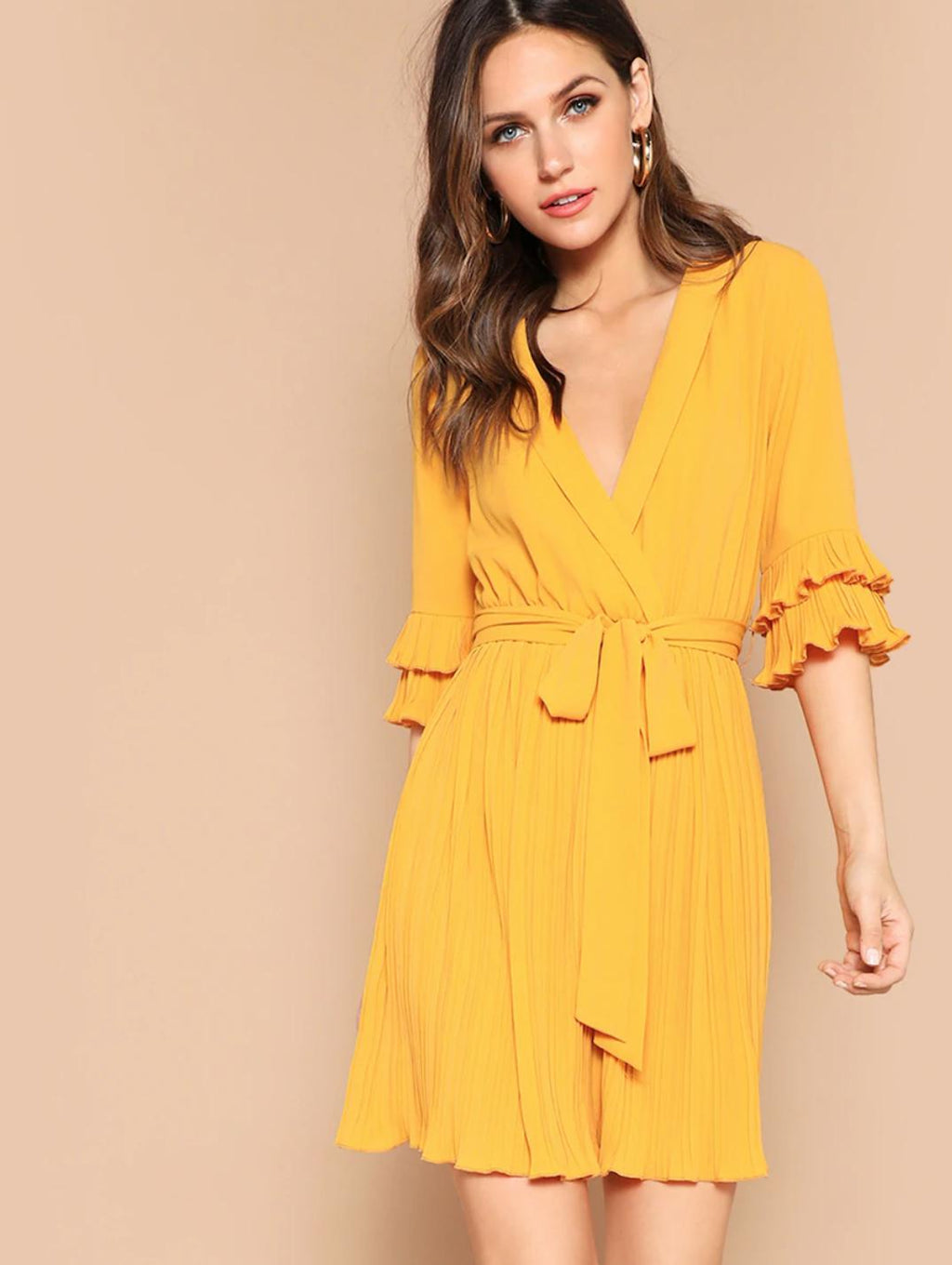 pleat me yellow party womens summer tie sleeve mini dress front
