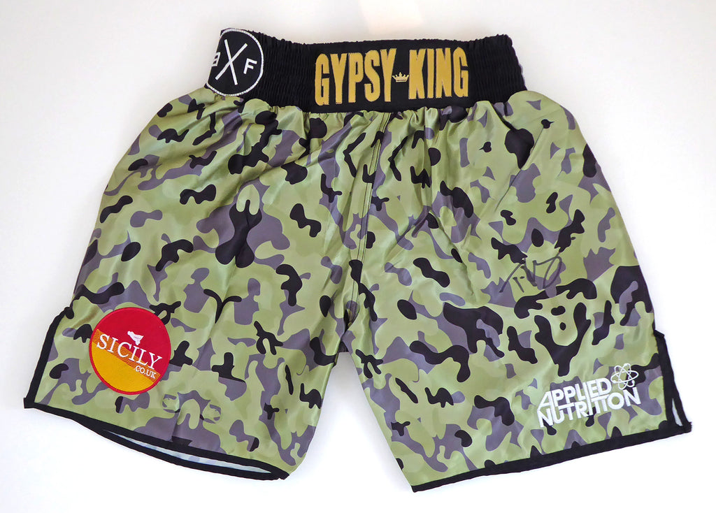 Tyson Fury Signed Camo Shorts