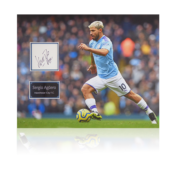 Sergio Aguero Man City Signed Poster Mount Display