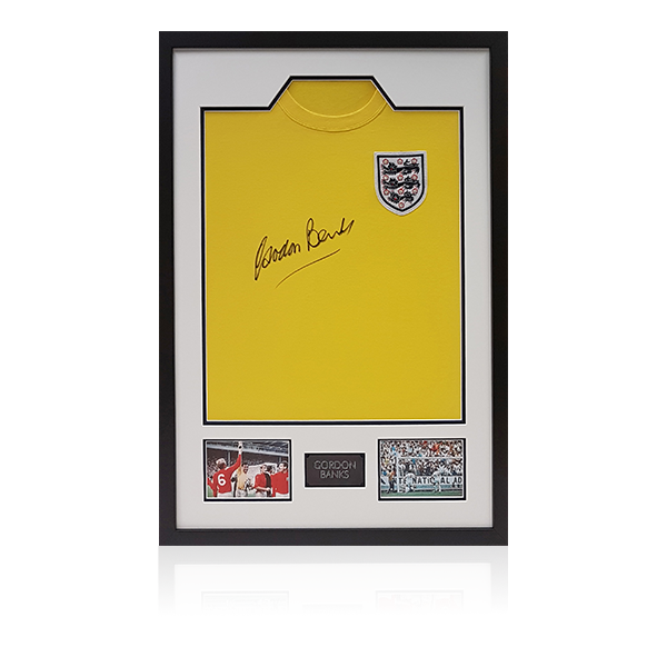 Gordon Banks Signed England Shirt Display