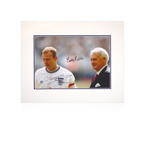 Alan Shearer and Bobby Robson (England) Signed Mount Display