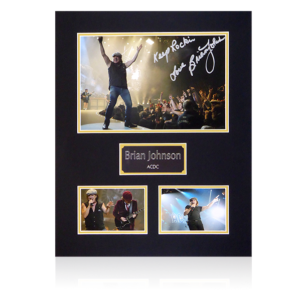 Brian Johnson ACDC Signed Mount Display