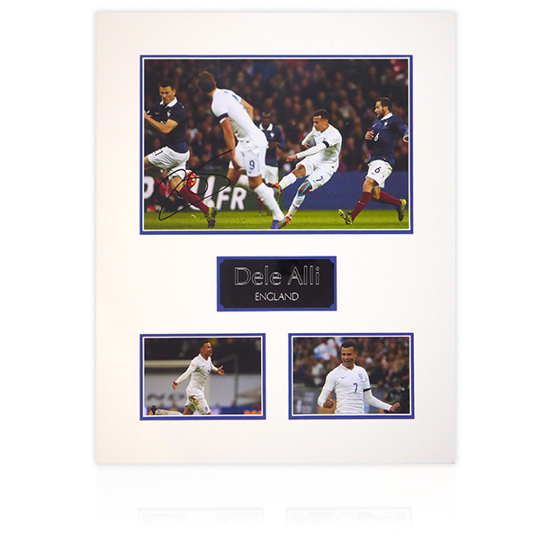 Dele Alli England Signed Mount Dispaly