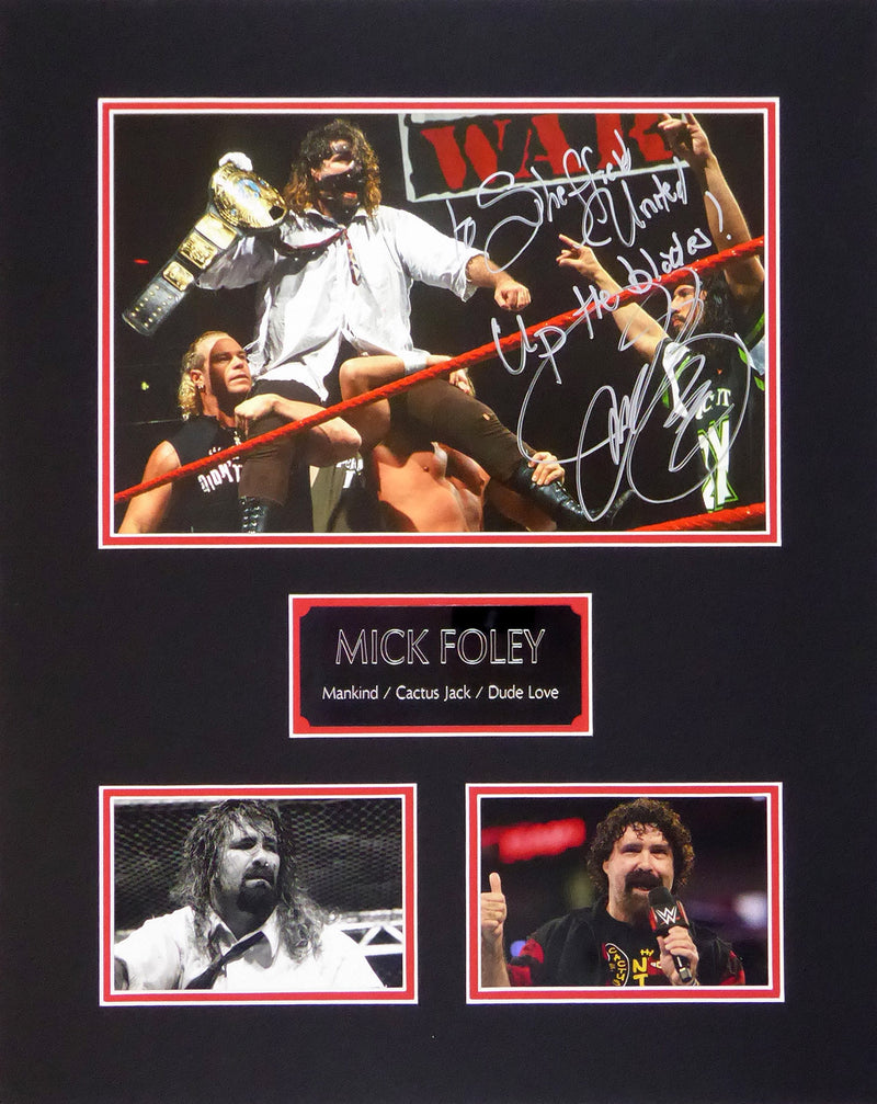 Mick Foley WWE/SUFC Signed Mount Display
