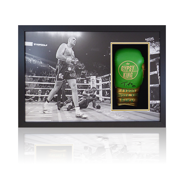 Tyson Fury Signed Green Glove Display