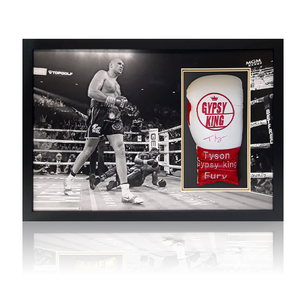 Tyson Fury Signed Red/White Glove Framed Display