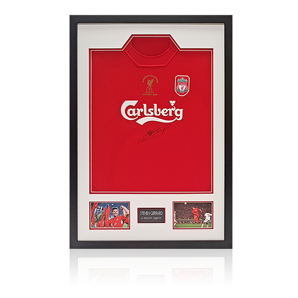 Steven Gerrard Signed Liverpool 2005 Shirt Display