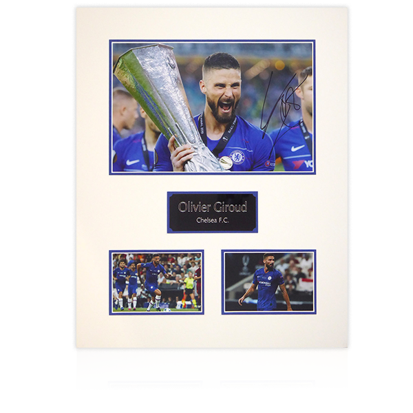 Olivier Giroud (Chelsea) Signed Mount Display with w/ Plaque