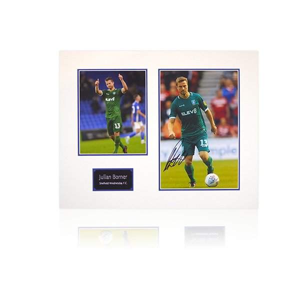 Julian Borner (Sheffield Wednesday) Signed Mount Display Away