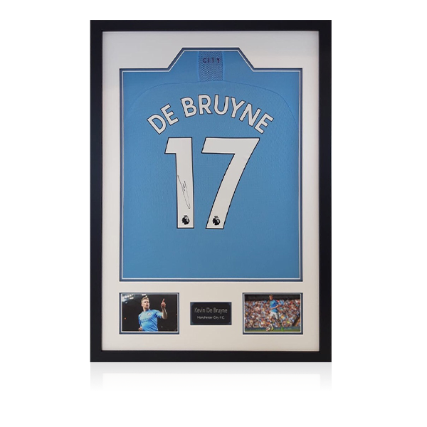 Kevin DeBruyne Signed Man City Shirt Display