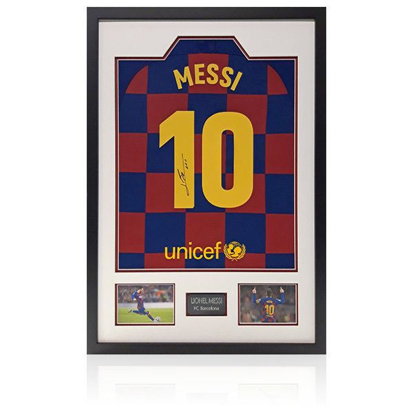 Lionel Messi Signed Barcelona Shirt Display