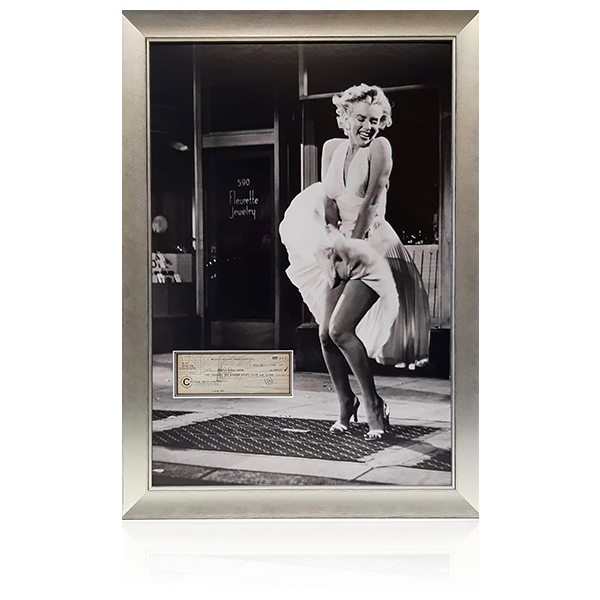 Marilyn Monroe Signed Cheque Display