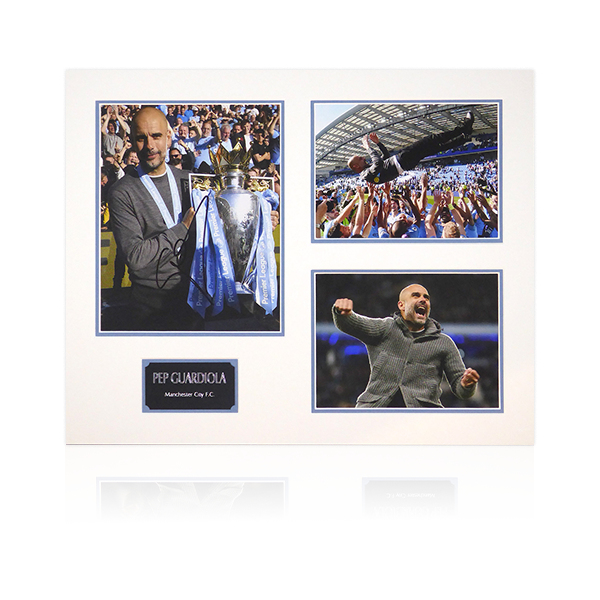 Pep Guardiola Signed Mounts Display W/Plaque