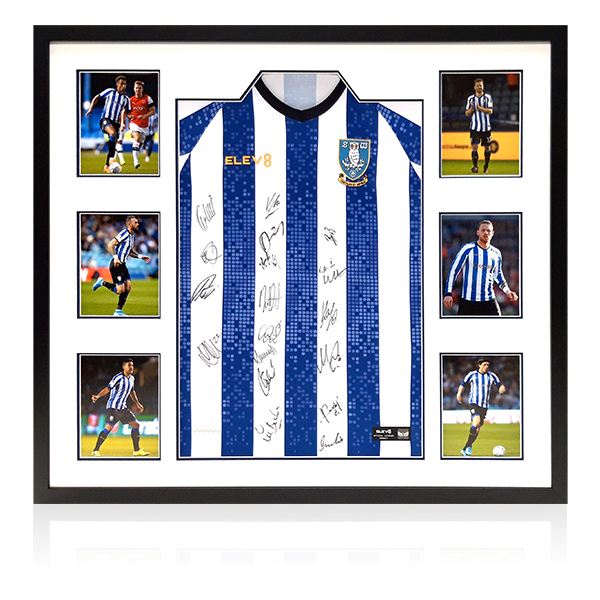 Sheffield Wednesday Squad Signed Shirts Display