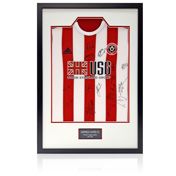 Sheffield United Team Signed Home Shirt 19-20 Season Framed Display