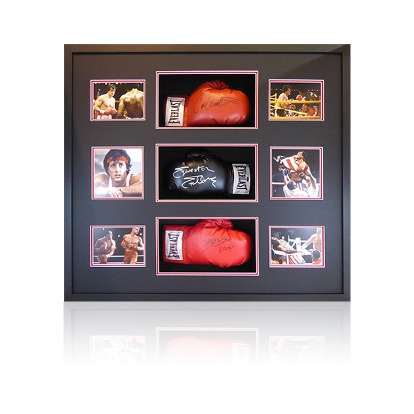 Rocky Triple Signed Glove Display