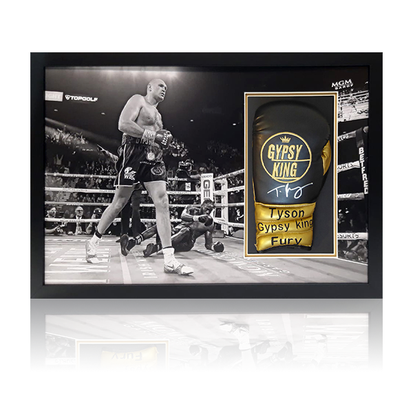 Tyson Fury Signed Black Glove Framed Display