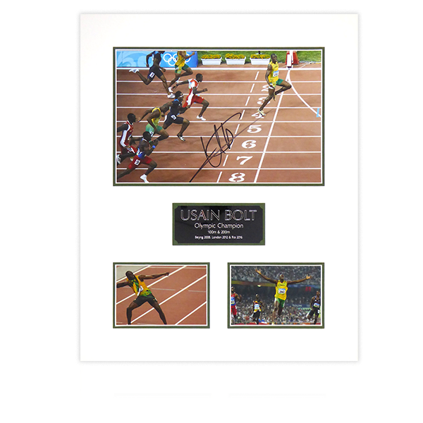 Usain Bolt Signed Mount Display