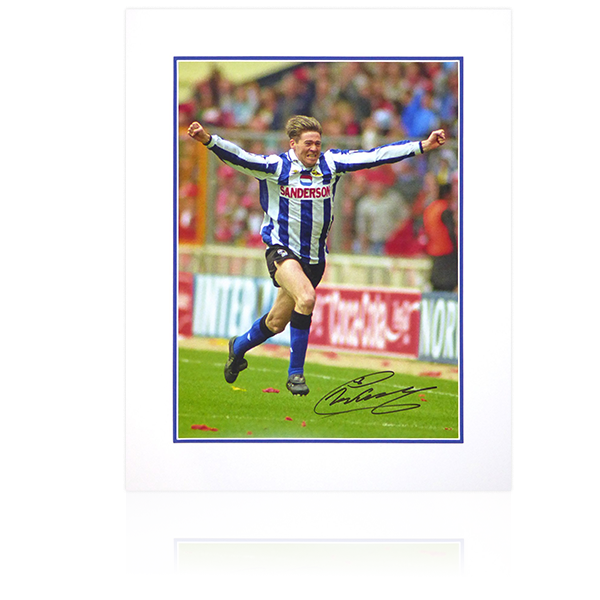 Chris Waddle Signed 16x12 Sheffield Wednesday FA Cup Celebration (Portrait)