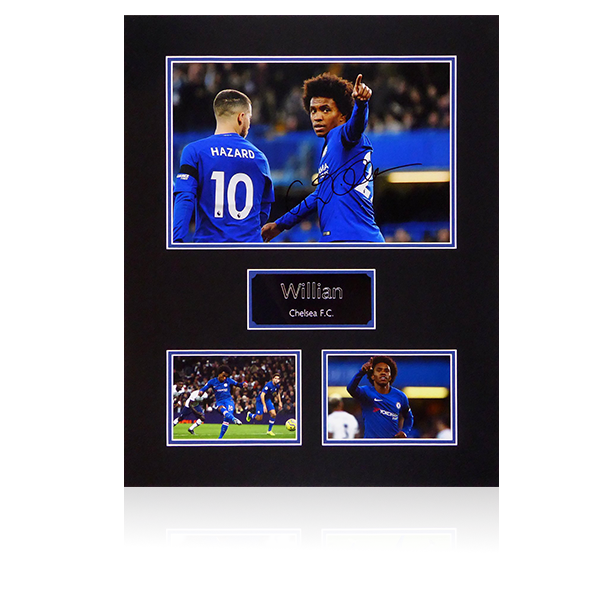 Willian Signed Chelsea Mount Display