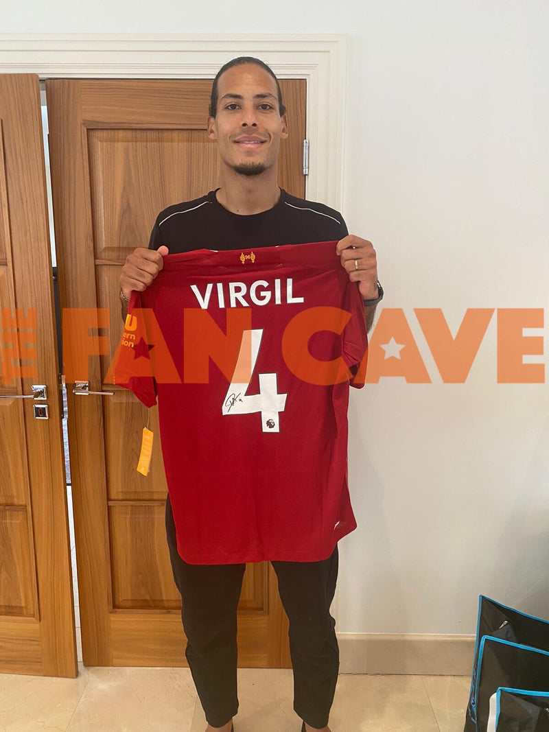 Virgil van Dijk Signed Liverpool Shirt Display