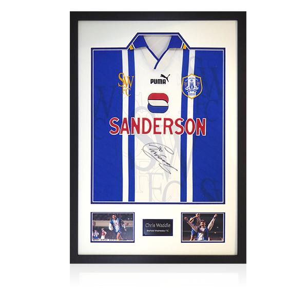 Chris Waddle Signed Sheffield Wednesday 1995 Home Shirt Display