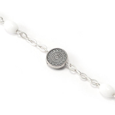 Notre Dame de Paris Cathedral Rosary with Rose Window Beads, White & Silver
