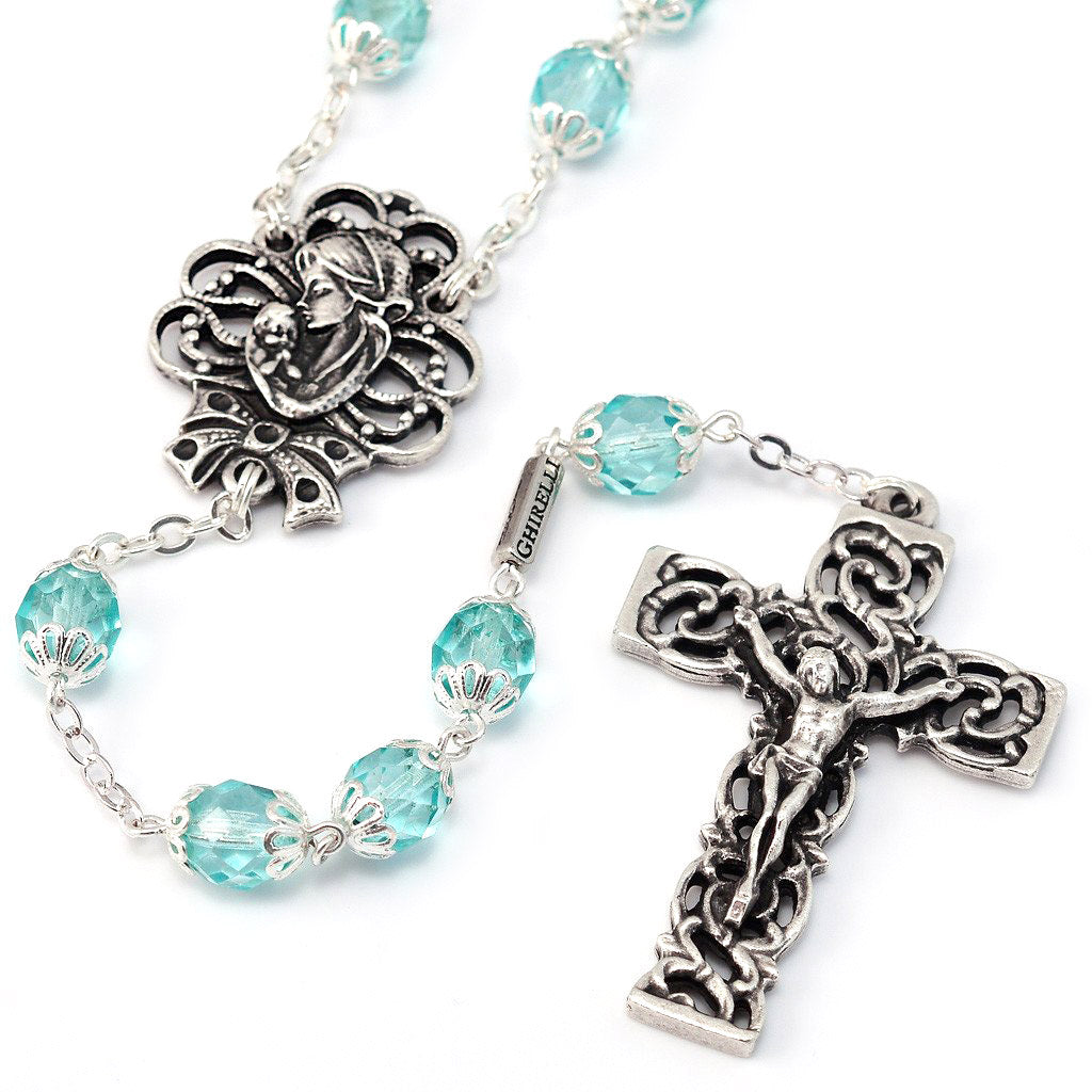 Mary's Motherly Love Collection Turquoise & Silver Rosary