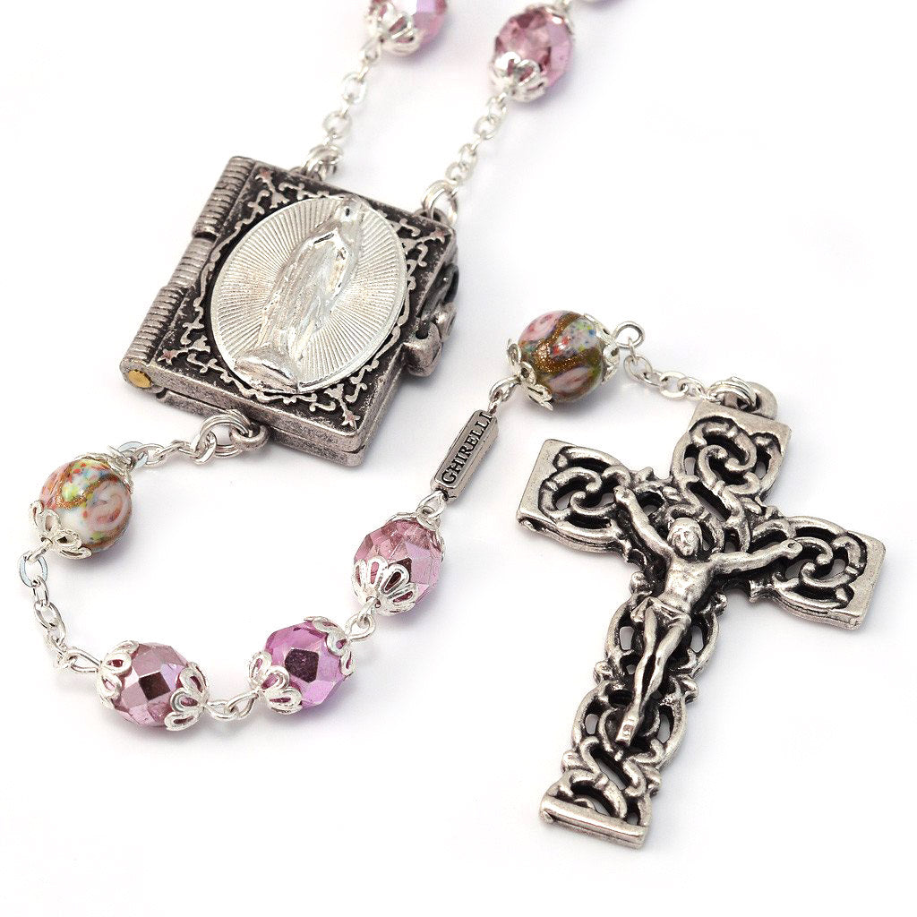Lourdes Locket Faceted Rose & Silver Rosary
