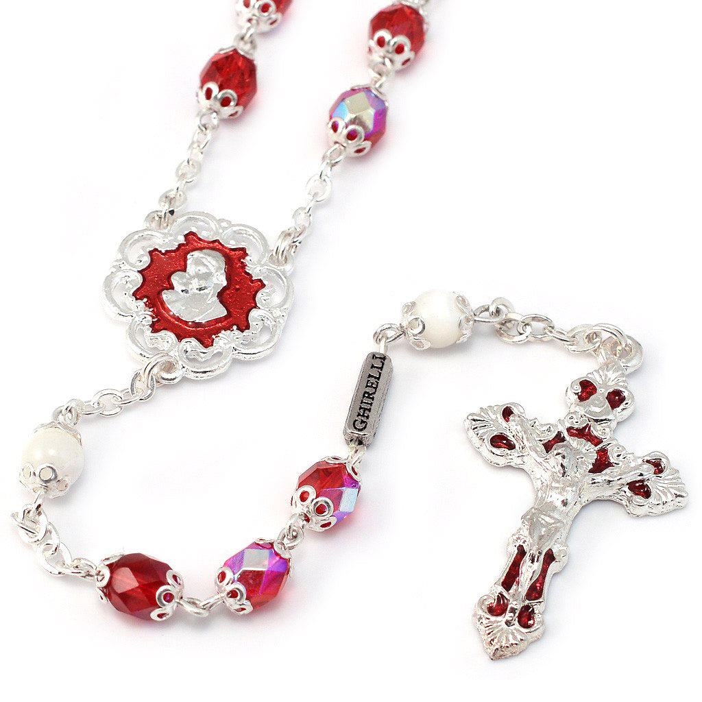 Mary's Motherly Love Collection Aurora Borealis Red & Silver Rosary