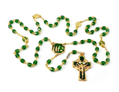 Knock Apparition Celtic Emerald & Gold Rosary - 7mm