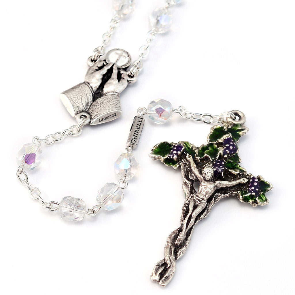 Holy Communion Vine & Branches Aurora Borealis & Silver Rosary