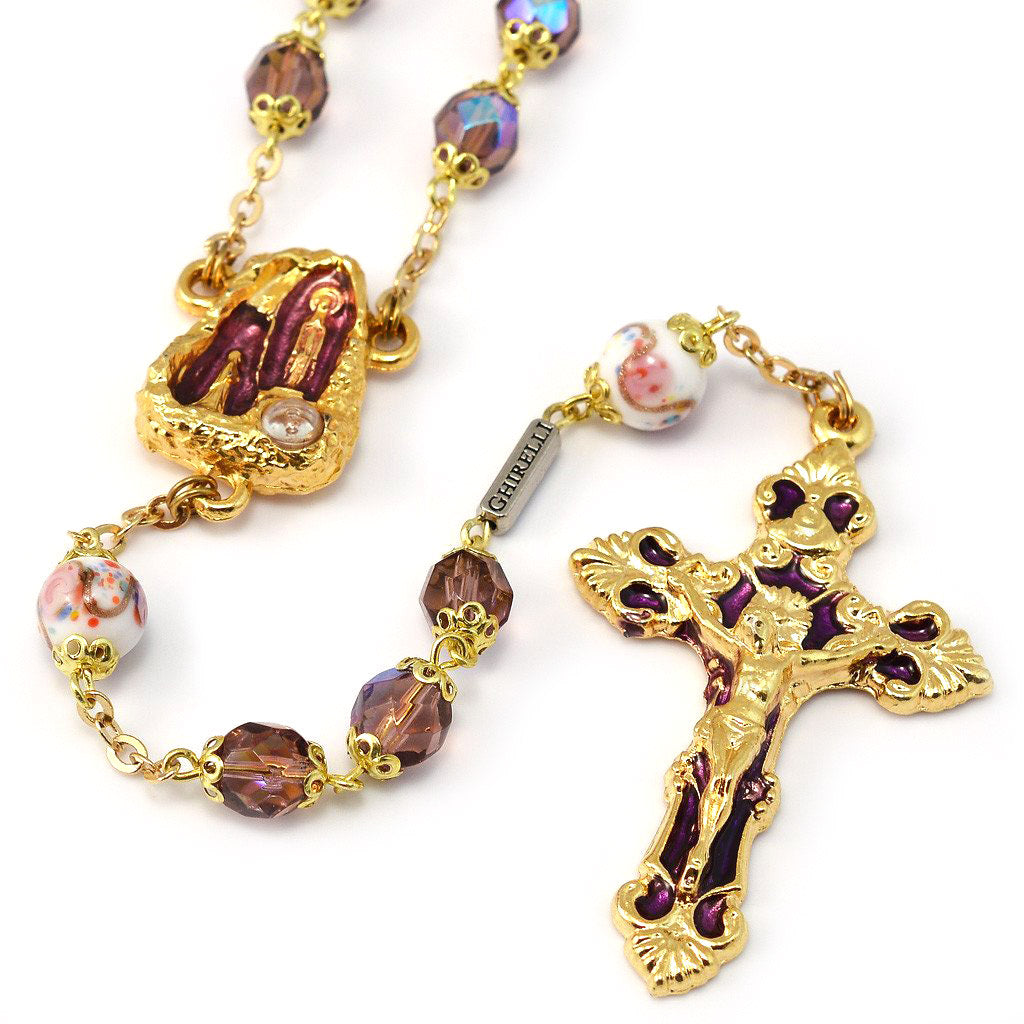 Lourdes Grotto Bohemian Glass & Gold Rosary