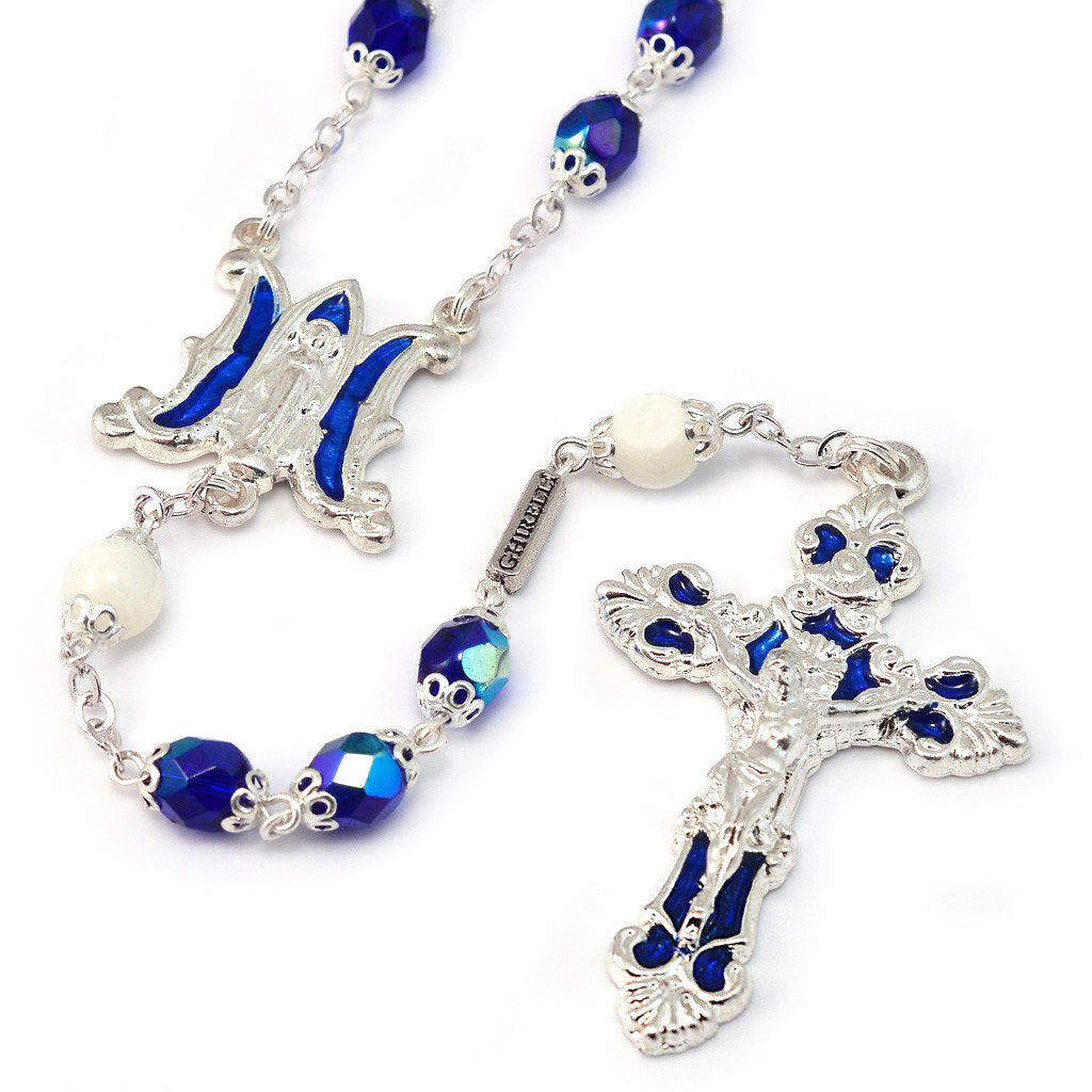 Annunciation Rosary, Silver & Blue Faceted Bohemian Glass