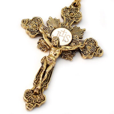 Annunciation Gold Rosary, Cream Bohemian Glass