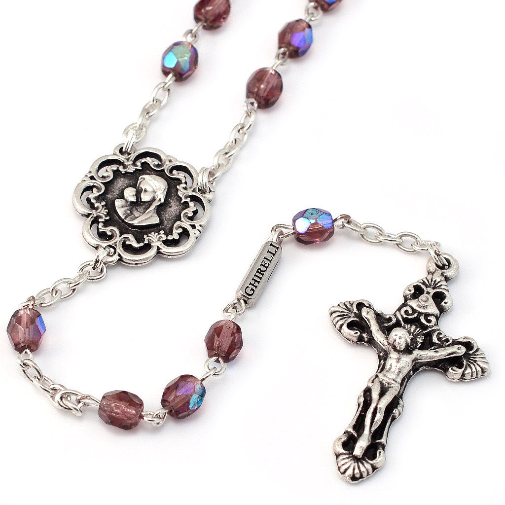 Mary's Motherly Love Collection Mauve Aurora Borealis Rosary