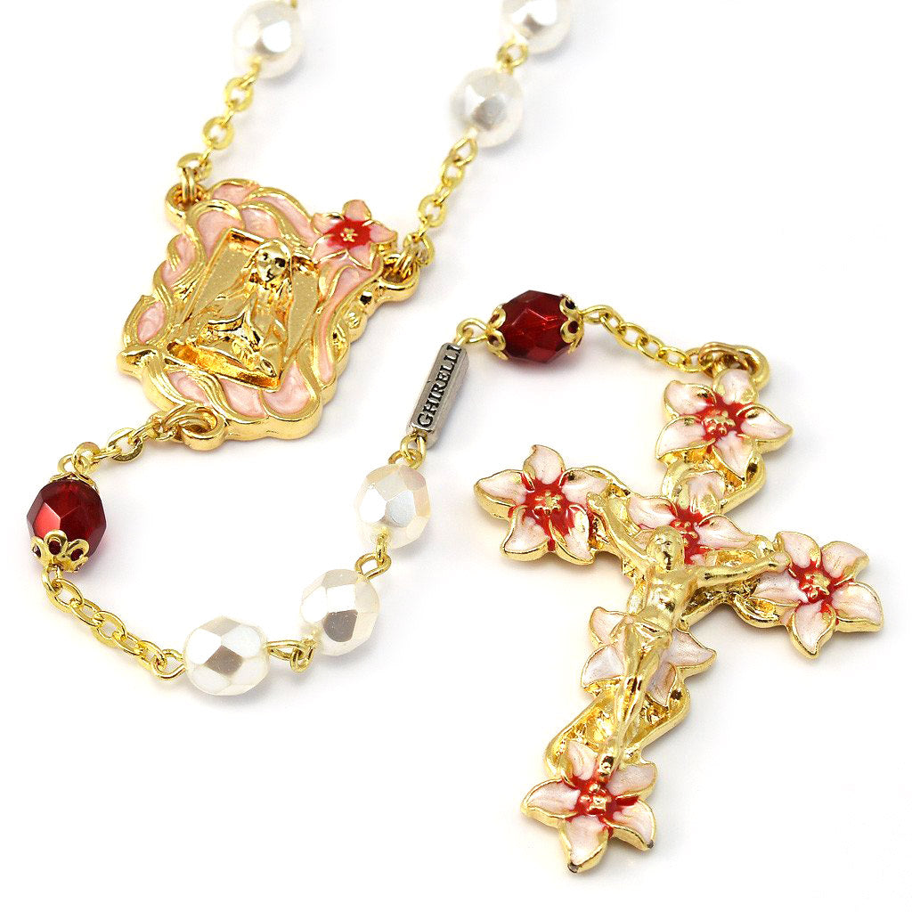 Lourdes Lily Faceted Blush, Red & Enameled Rosary