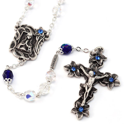 Lourdes Lily Blue Jewel & Silver Rosary