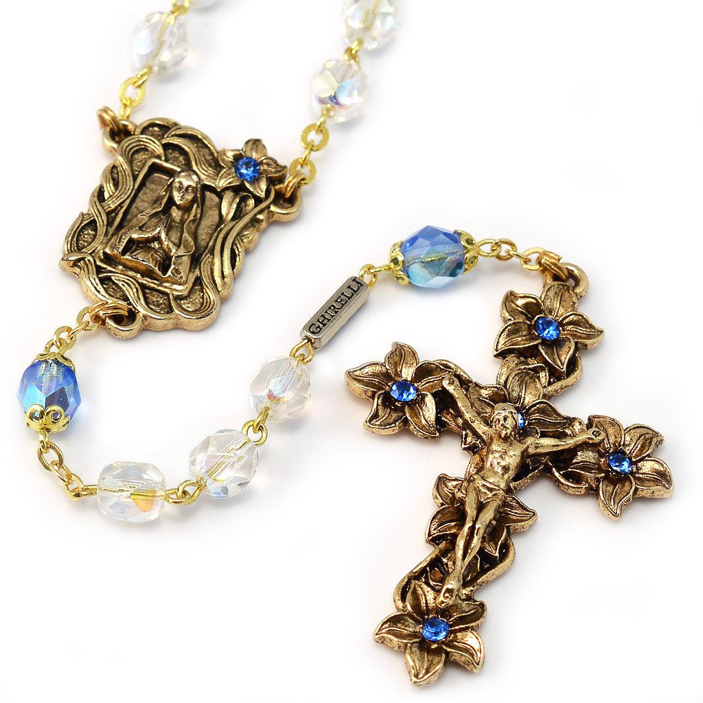 Lourdes Lily Crystal Blue & Gold Rosary