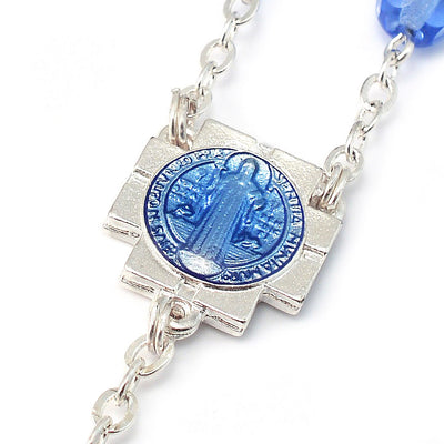 Saint Benedict Blue Enamel Rosary with Faceted Bohemian Glass Beads