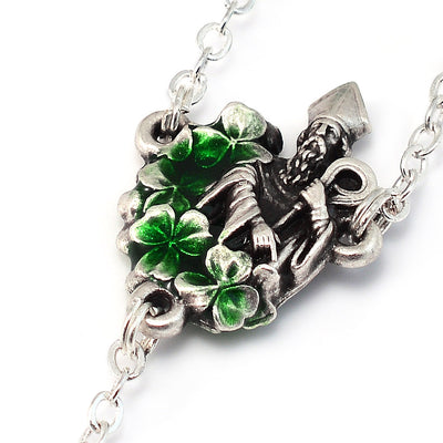 Saint Patrick Green Enamel, Faceted Crystal & Silver Rosary