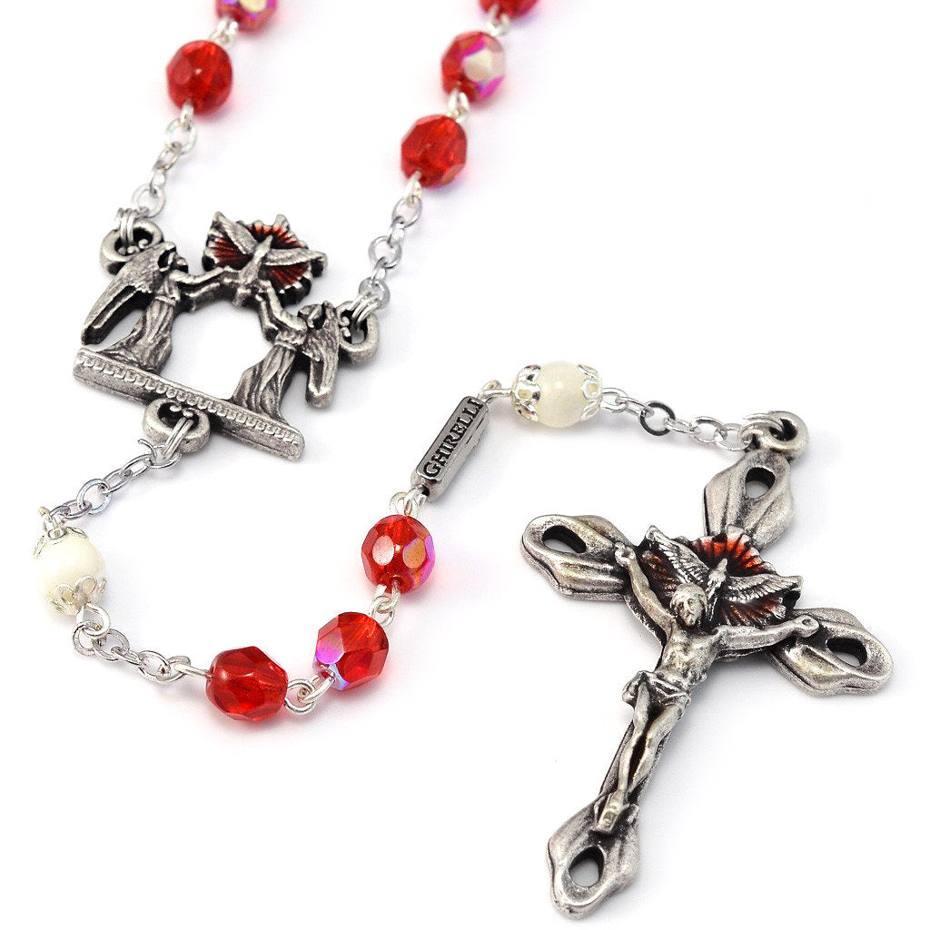 Holy Confirmation Red Faceted Glass & Silver Rosary