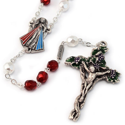 Merciful Jesus Divine Mercy Faceted Crimson & White Rosary