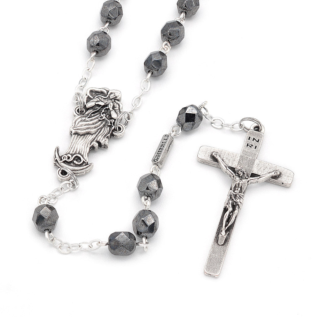 Our Lady Undoer of Knots Hematite Faceted Glass