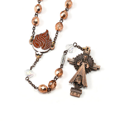 RCIA Rosary with Copper Crystal and Flame
