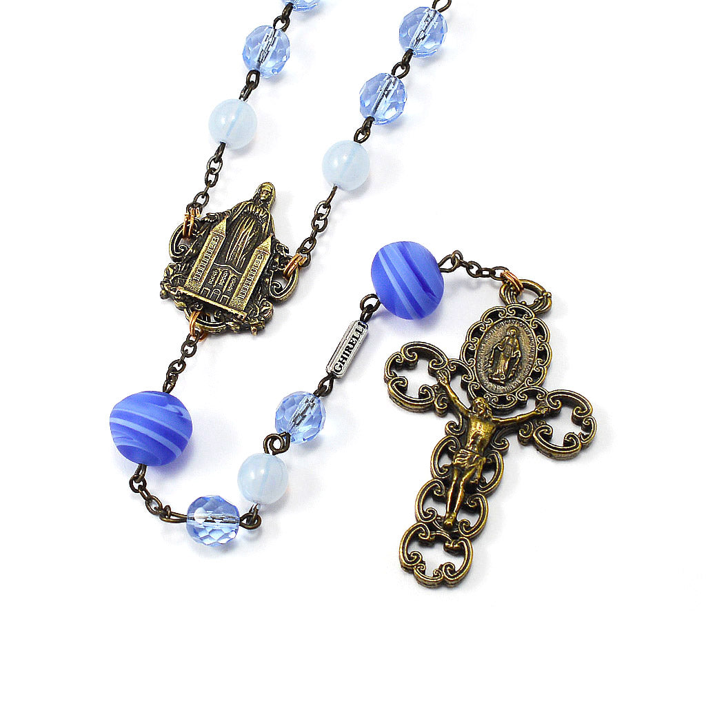 Medjugorje Queen of Peace Rosary with Genuine Murano Bead, Blue