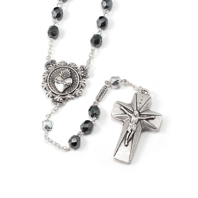 Rosaries for Men in Antique Silver with Faceted Beads