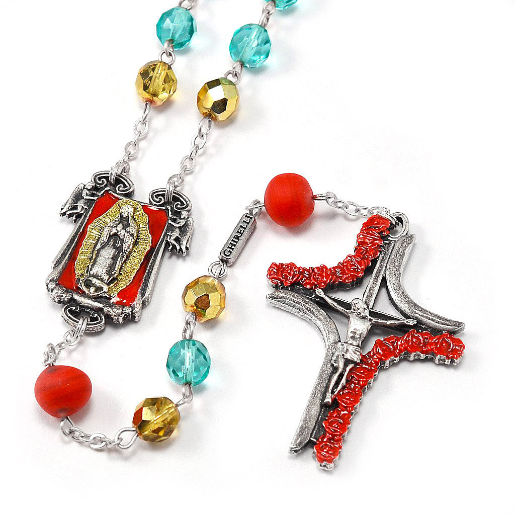 Our Lady of Guadalupe Rosary with Genuine Murano Glass