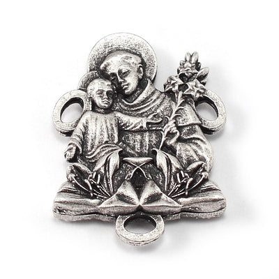 Saint Anthony Rosary in Antique Silver and Sapphire Beads
