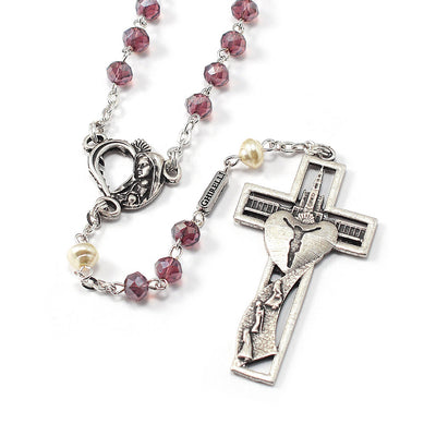 Our Lady of Fatima Rosary with Amethyst Glass Beads & Silver